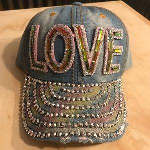 Accessories - Denim Rainbow Love Bling cap NWT